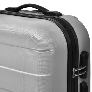 vidaXL Set Trolley Rigidi 3 pz Argento[3/5]