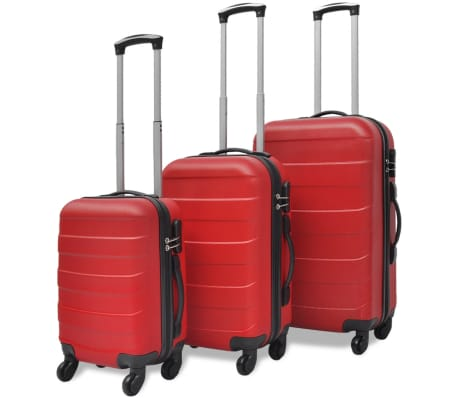 vidaXL 3 Piece Hardcase Trolley Set Red