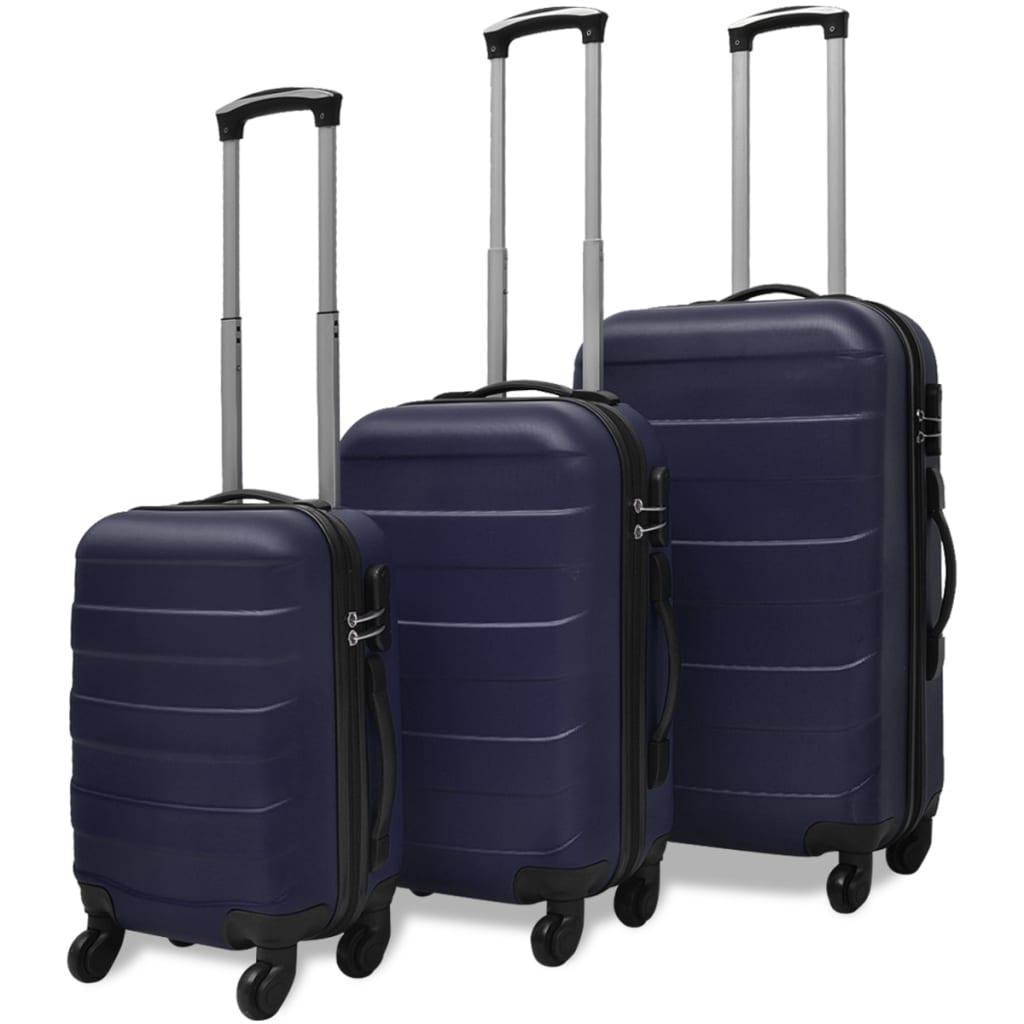 Sada tří skořepinových kufrů na kolečkách, modrá