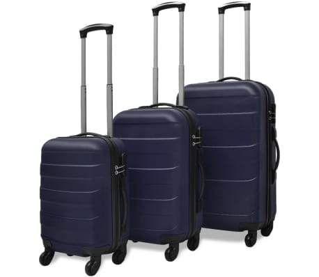 vidaXL 3 Piece Hardcase Trolley Set Blue[1/5]