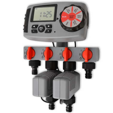 vidaXL Temporizador de riego automático con 4 estaciones 3 V[1/6]