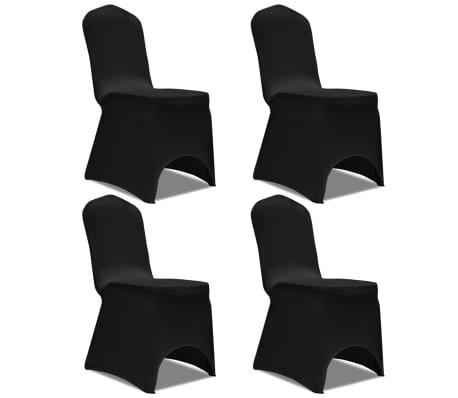 Acheter vidaxl housse de chaise extensible 4 pcs noir pas cher - Housse de chaise noir pas cher ...