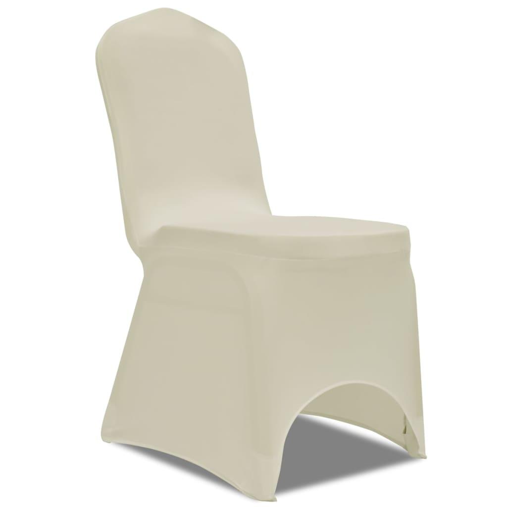 vidaXL Strečové potahy na židle 4 ks krémové