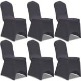 vidaXL Housse de chaise extensible 6 pcs anthracite