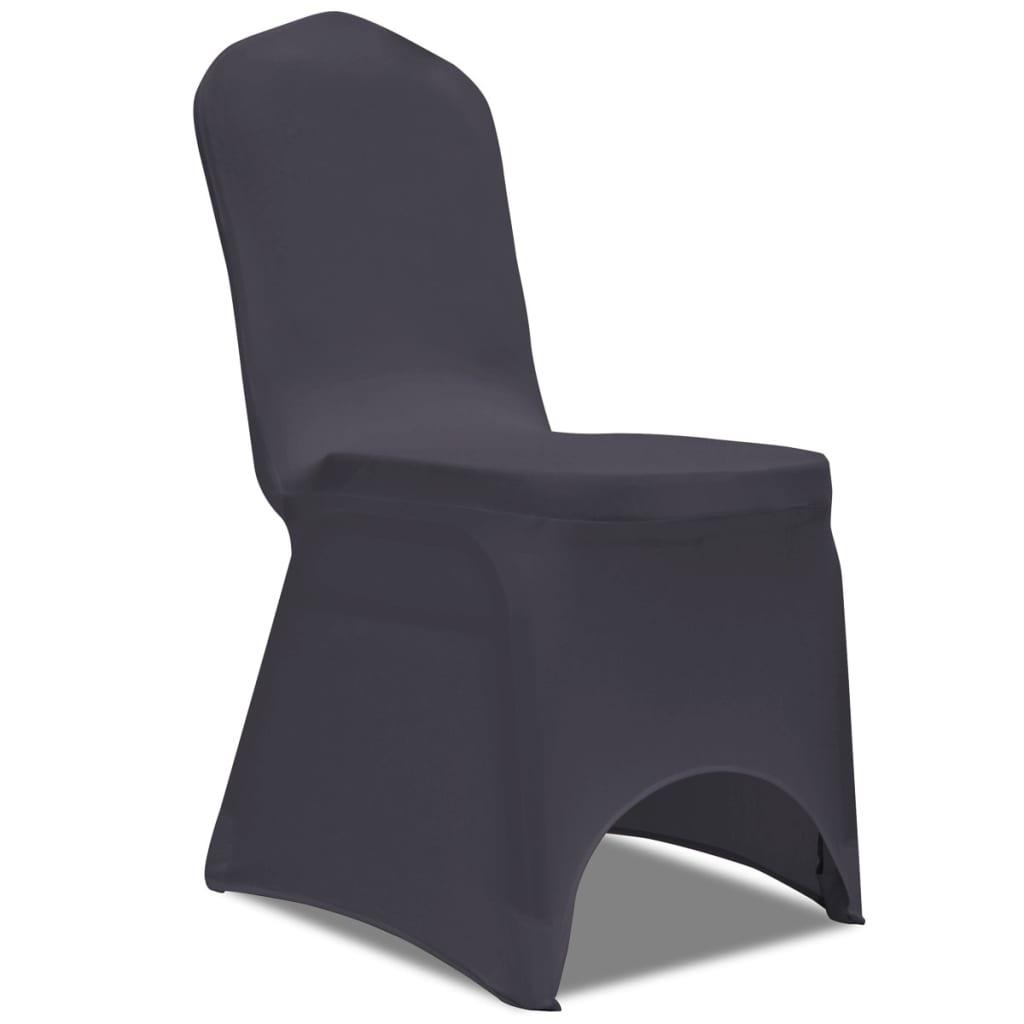 vidaXL Strečové potahy na židle 6 ks antracitové