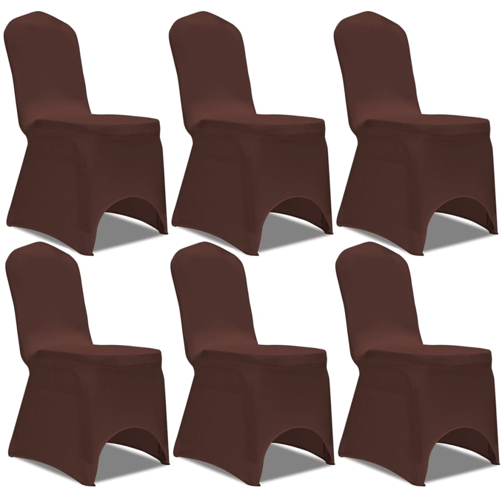 vidaXL Καλύμματα Καρέκλας Ελαστικά 6 τεμ. Καφέ