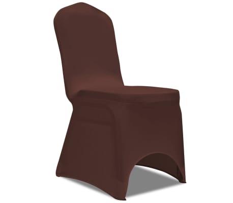 e41a07b123309 vidaXL Naťahovací návlek na stoličku, 6 ks, hnedý | vidaXL.sk