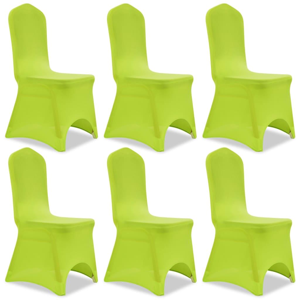 vidaXL Husă elastică pentru scaun, verde, 6 buc. poza 2021 vidaXL