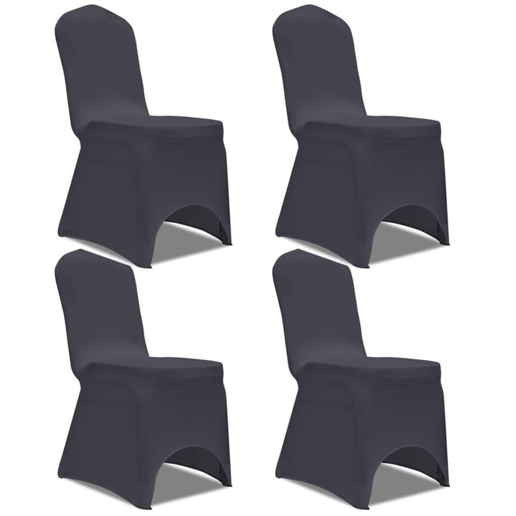 Strečové potahy na židle 4 ks antracitové