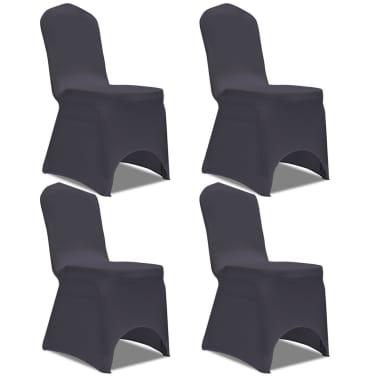 5239f3e03a7e Olcsó vidaXL 4 db nyújtható szék huzat antracit | vidaXL.hu