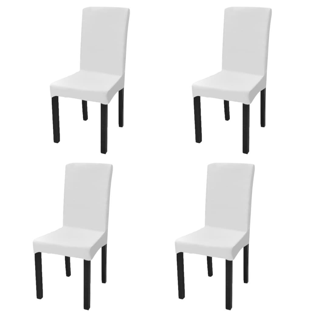 vidaXL Husă elastică dreaptă pentru scaun, alb, 4 buc. poza vidaxl.ro