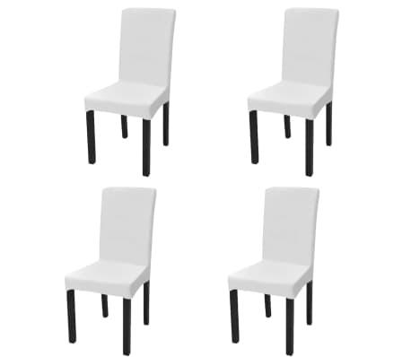 vidaXL Gerader Stretch Stuhlbezug 4 Stück Weiß