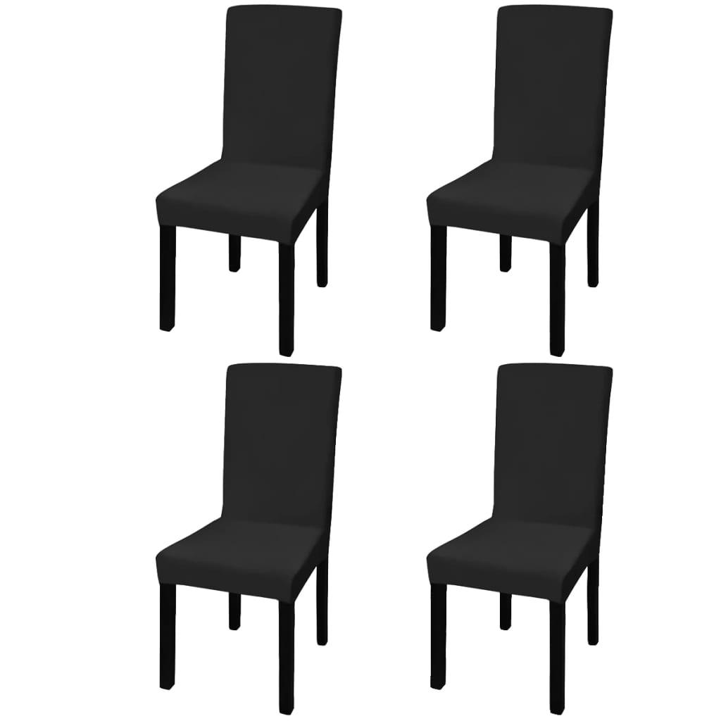 99131419 Gerader Stretch Stuhlbezug 4 Stück Schwarz