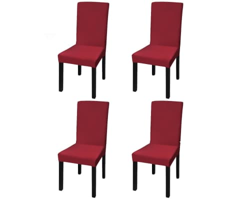 acheter vidaxl housse de chaise droite extensible 4 pcs bordeaux pas cher. Black Bedroom Furniture Sets. Home Design Ideas