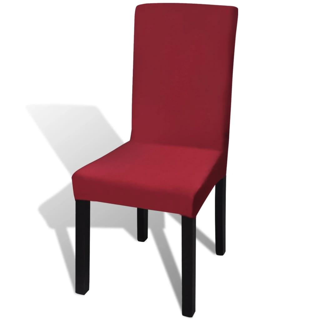 vidaXL Hladké strečové potahy na židle 4 ks bordó