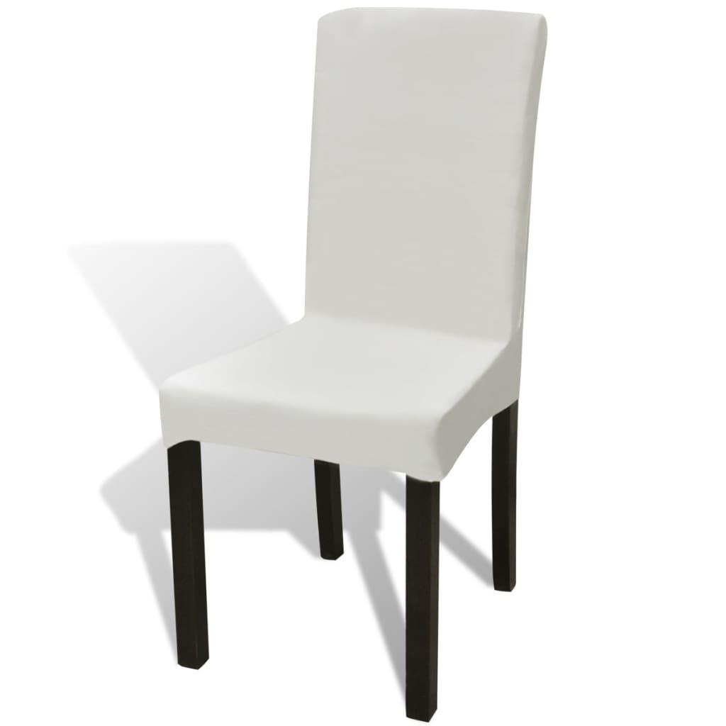 vidaXL Hladké strečové potahy na židle 4 ks krémové