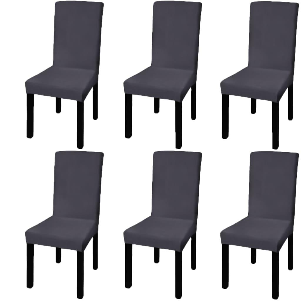 vidaXL Husă elastică pentru scaun, antracit, 6 buc. poza 2021 vidaXL