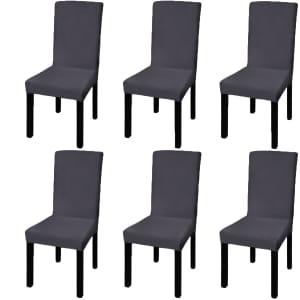 vidaXL Suora joustava tuolinpäällinen 6 kpl Antrasiitti