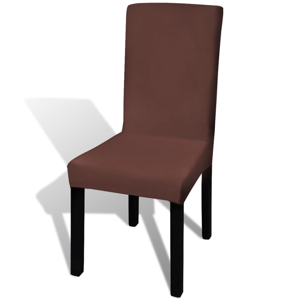 vidaXL Hladké strečové potahy na židle 6 ks hnědé