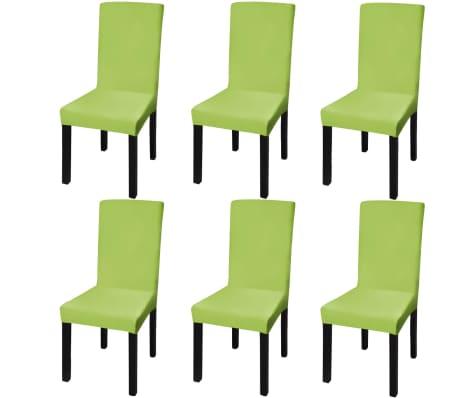 vidaXL Hladké strečové potahy na židle 6 ks zelené-picture