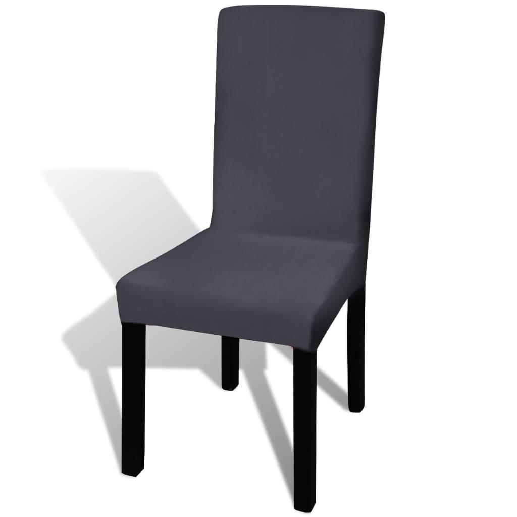 vidaXL Hladké strečové potahy na židle 4 ks antracitové