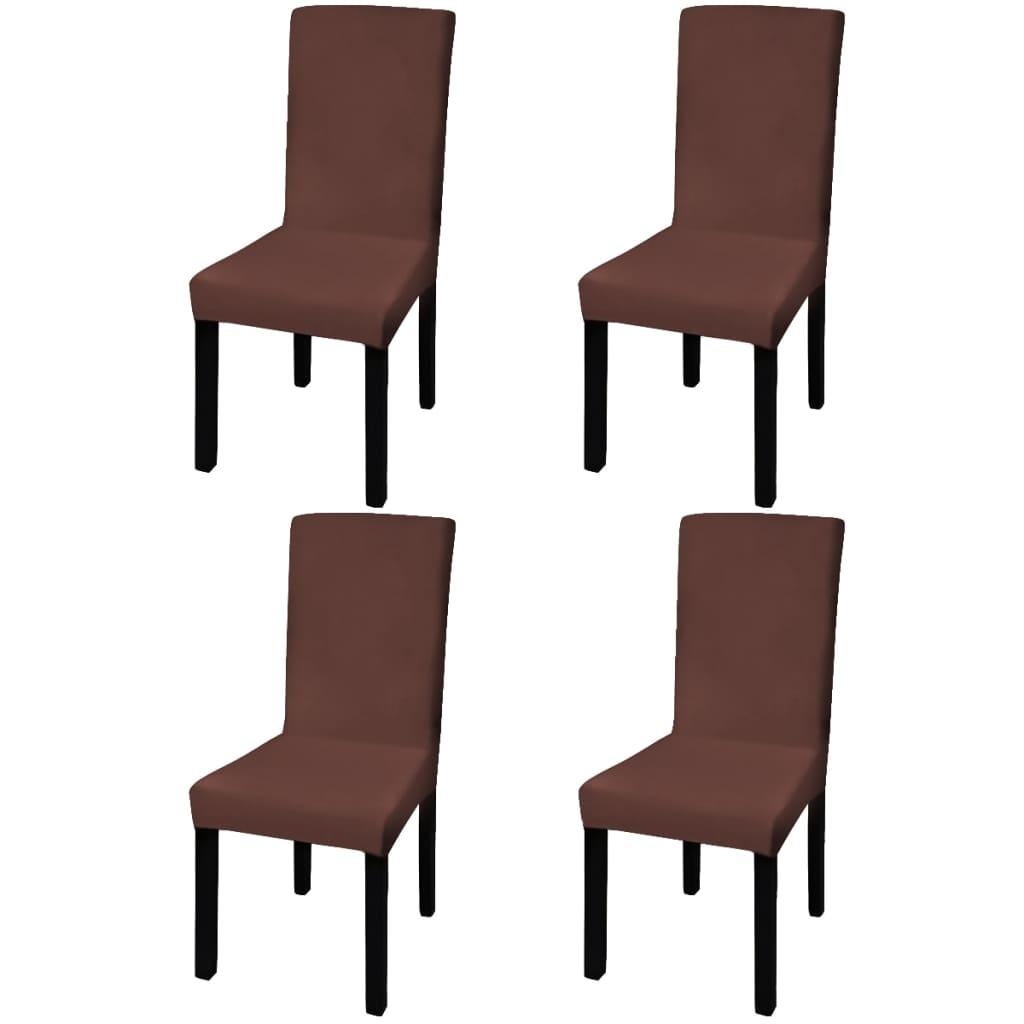 vidaXL Husă elastică pentru scaun, maro, 4 buc. poza vidaxl.ro