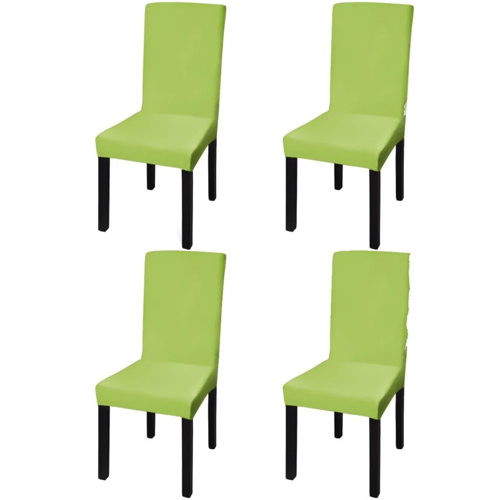vidaXL Housse de chaise droite extensible 4 pcs vert
