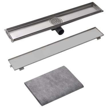 vidaXL Desagüe lineal de ducha 730x140 mm acero inoxidable[4/7]