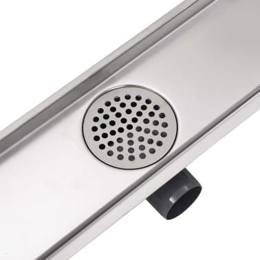 vidaXL Desagüe lineal de ducha 730x140 mm acero inoxidable[5/7]