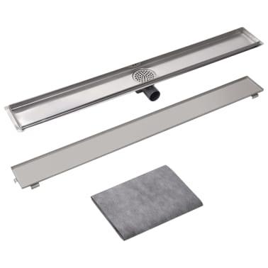 vidaXL Sprchový odtokový žlab rovný 1030x140 mm nerezová ocel[4/6]