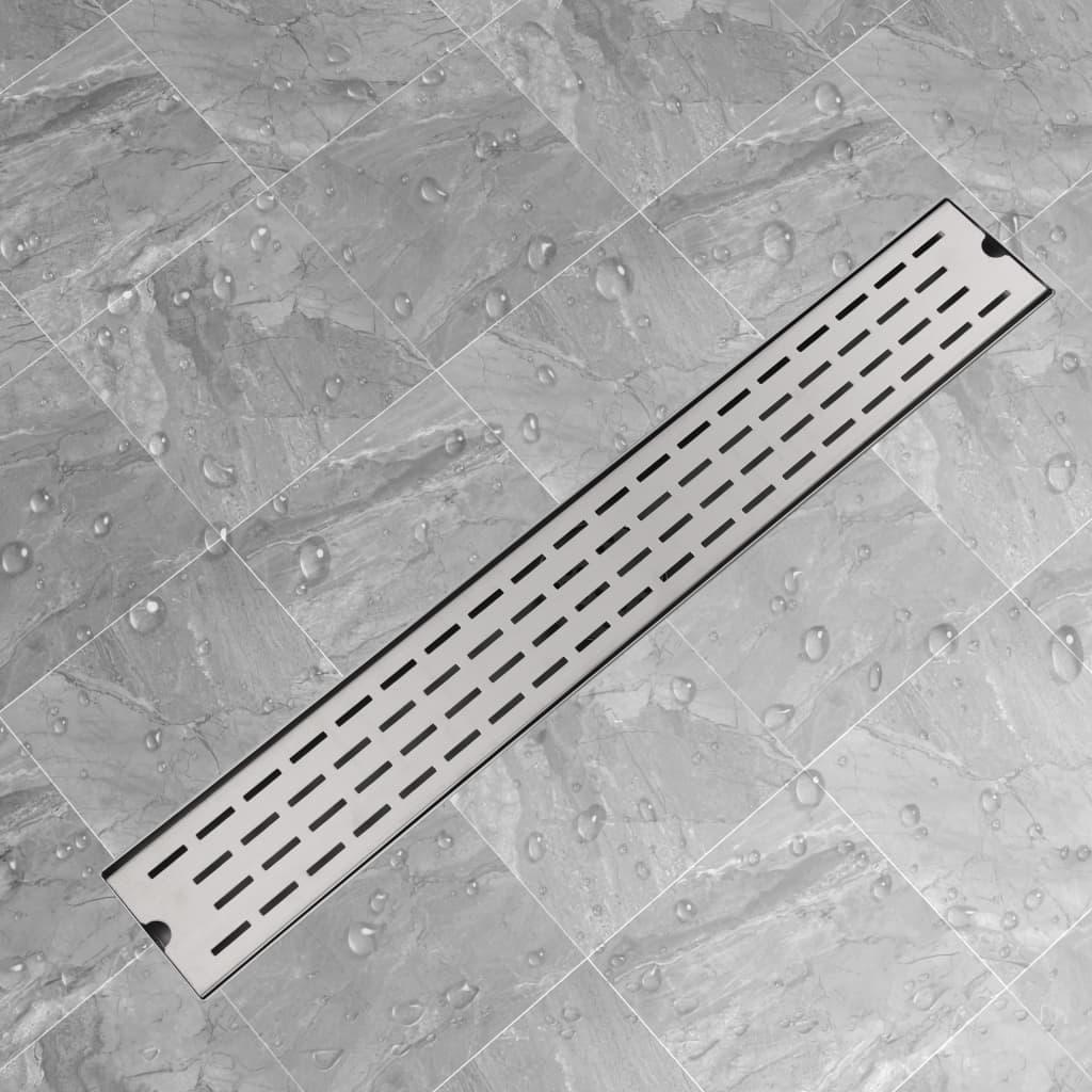 vidaXL Rigolă duș liniară din oțel inoxidabil, model linie, 830x140 mm poza vidaxl.ro