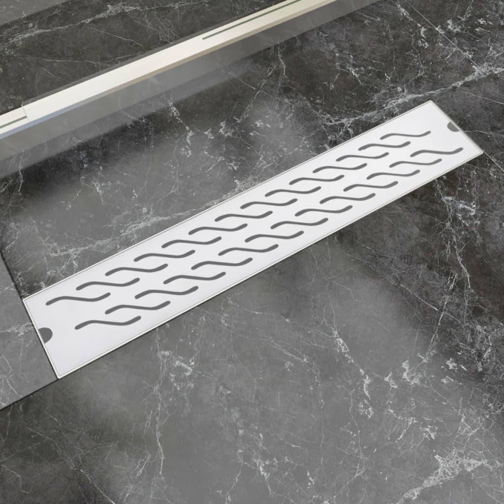vidaXL Rovný sprchový odtokový žlab vlnky 630x140 mm nerezová ocel