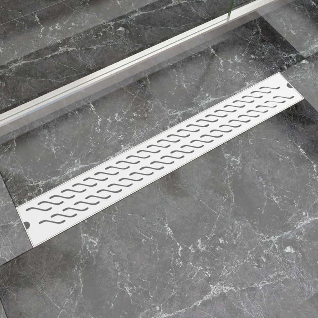 Rovný sprchový odtokový žlab vlnky 830x140 mm nerezová ocel