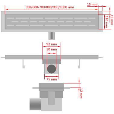 vidaXL pailgas dušo latakas, nerūdijančio plieno, 730x140 mm[9/9]