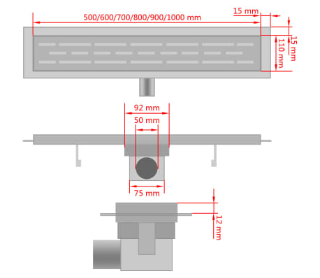 vidaXL Rovný sprchový odtokový žlab bubliny 1030x140 mm nerezová ocel[9/9]