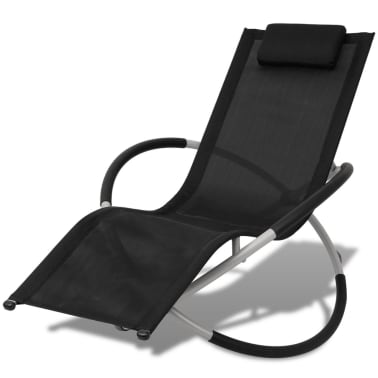 vidaXL Outdoor Geometrical Sun Lounger Steel Black and Grey[1/8]