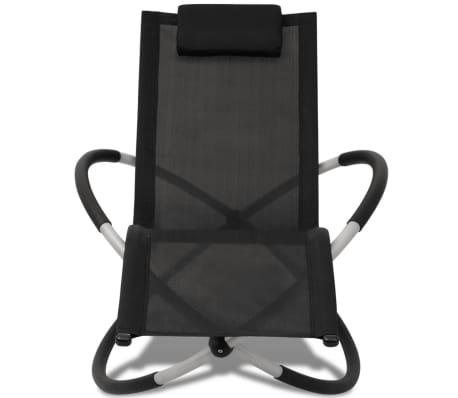 vidaXL Outdoor Geometrical Sun Lounger Steel Black and Grey[3/8]