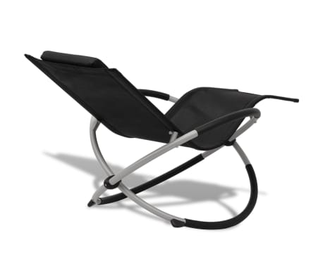 vidaXL Outdoor Geometrical Sun Lounger Steel Black and Grey[4/8]