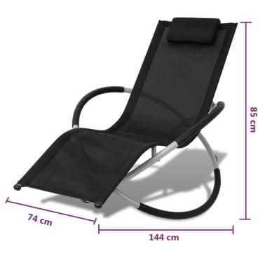vidaXL Outdoor Geometrical Sun Lounger Steel Black and Grey[8/8]
