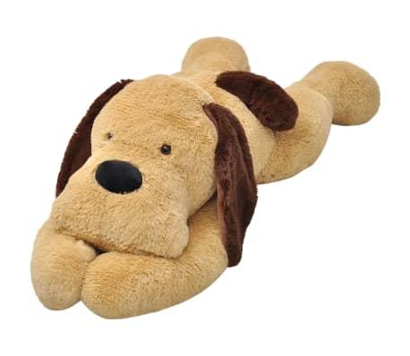 vidaXL Плюшена играчка куче, кафяв плюш,120 см