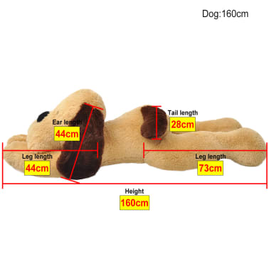 vidaXL Dog Cuddly Toy Plush Brown 160 cm[4/4]