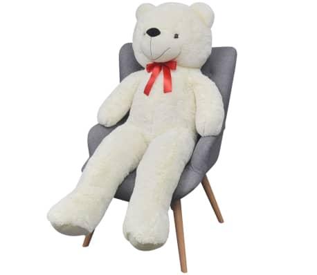 vidaXL rotaļu lācis, balts plīšs, 260 cm, balts[4/5]