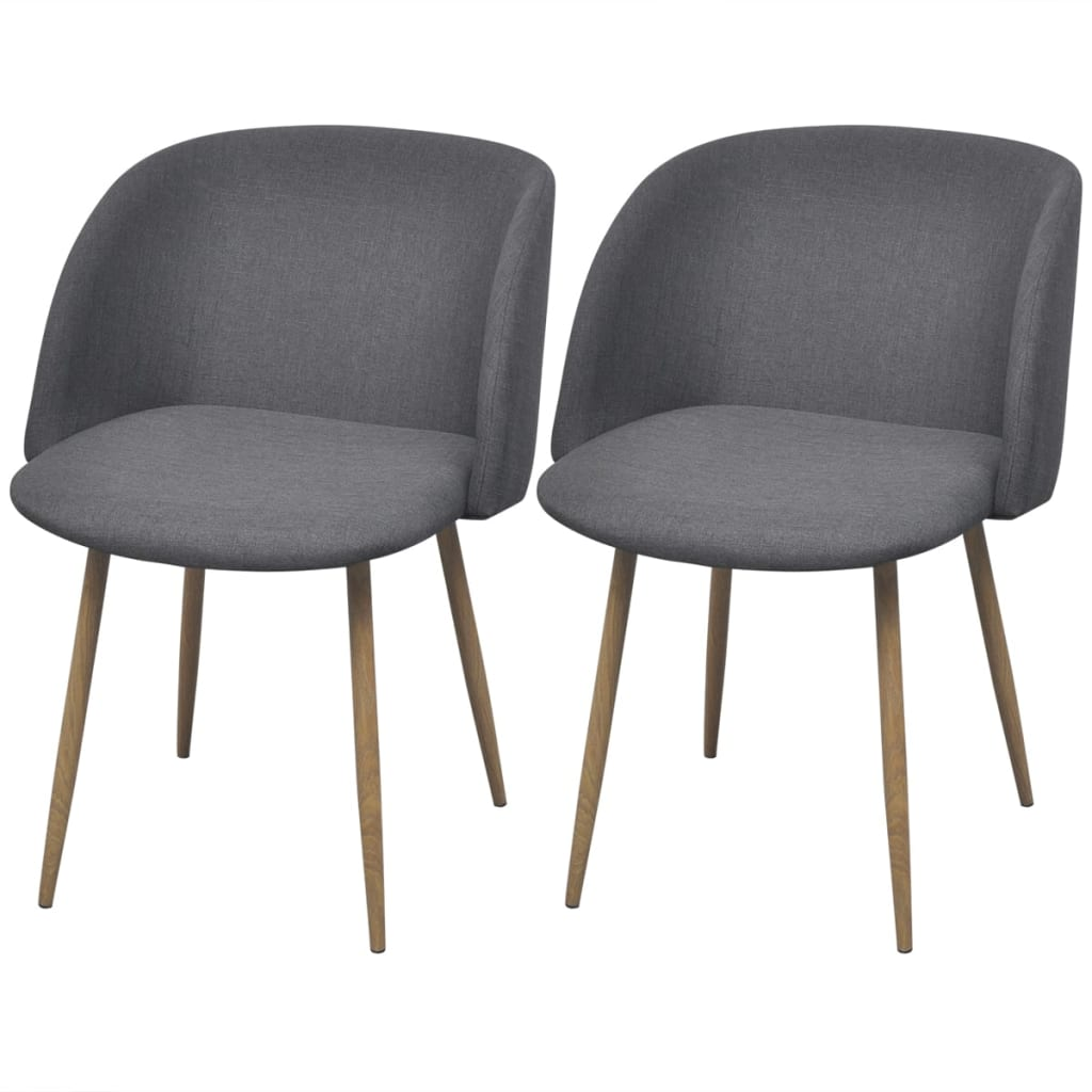vidaXL Dining Chairs 2 pcs Dark Grey