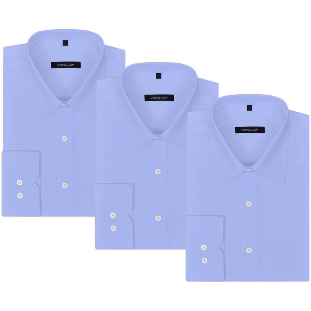 999131489 Herren Business-Hemd 3 Stk. Gr. S hellblau