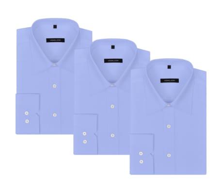 vidaXL Vyriški kostiumo marškiniai, 3 vnt. dydis S, šviesiai mėlyni[1/7]