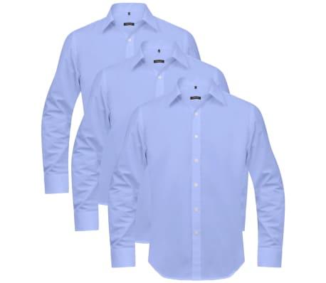 vidaXL Vyriški kostiumo marškiniai, 3 vnt. dydis S, šviesiai mėlyni[4/7]