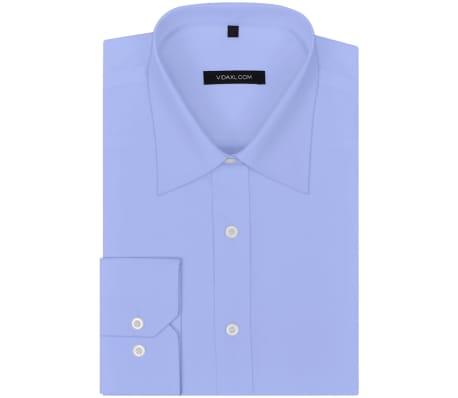 vidaXL Vyriški kostiumo marškiniai, 3 vnt. dydis S, šviesiai mėlyni[5/7]