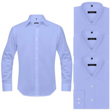 vidaXL Vyriški kostiumo marškiniai, 3 vnt. dydis S, šviesiai mėlyni[2/7]