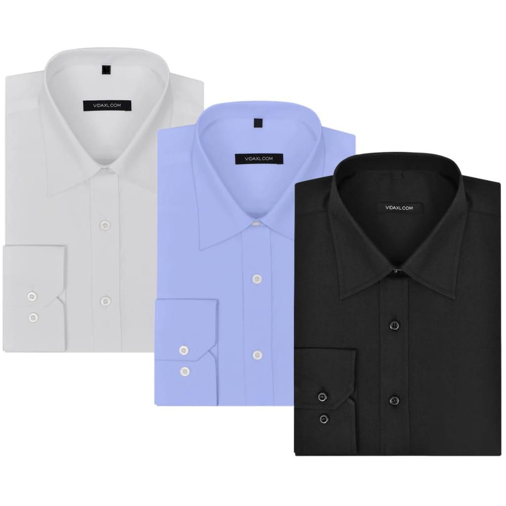 vidaXL Pánská business košile 3 ks bílá/černá/světle modrá vel. XXL