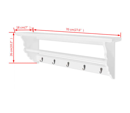 vidaXL Coat Rack MDF White Baroque Style[6/6]